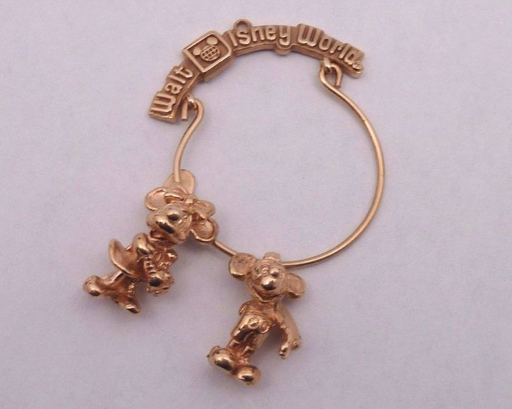 Walt Disney Productions Mickey & Minnie Mouse 14K Yellow Gold Charms with Hanger  | eBay