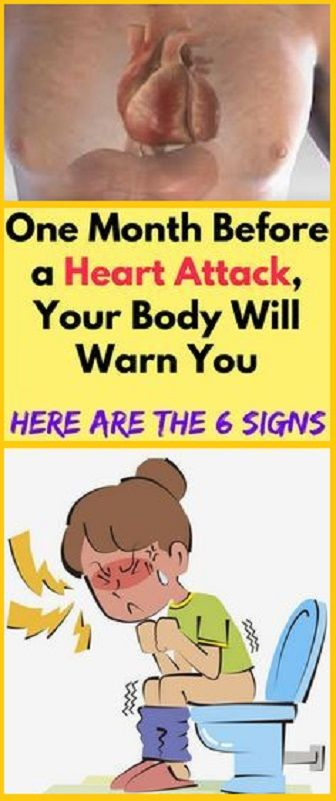 One Month Before a Heart Attack, Your Body Will Warn You It has been reported that your body will give warnings signs of a heart attack up to six months