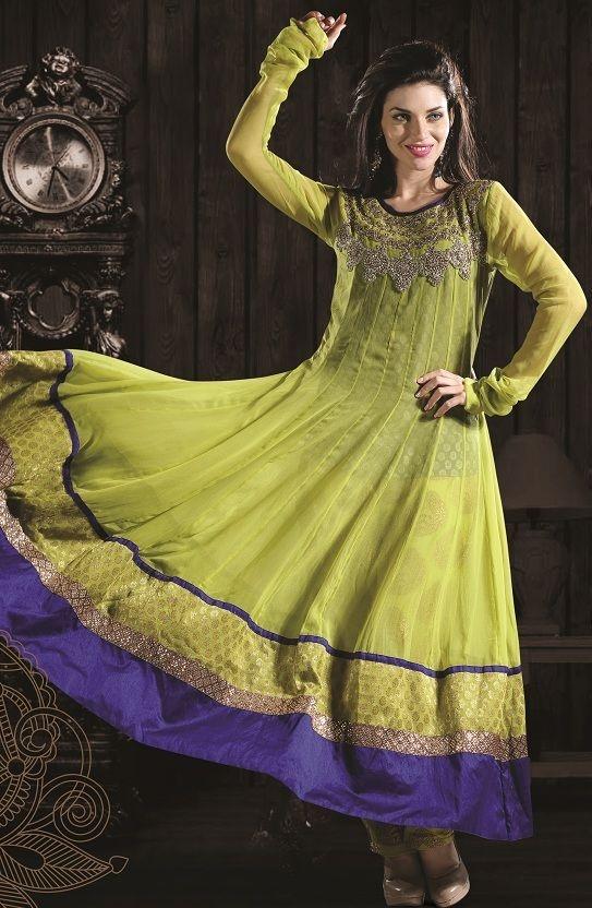 Blue color combination churidar dress