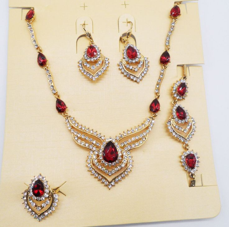 Fashion Fine Jewelry Sets Necklace Bracelet Earrings Rings Crystal Party Wedding Gold Plated Bridal Collar Accessories