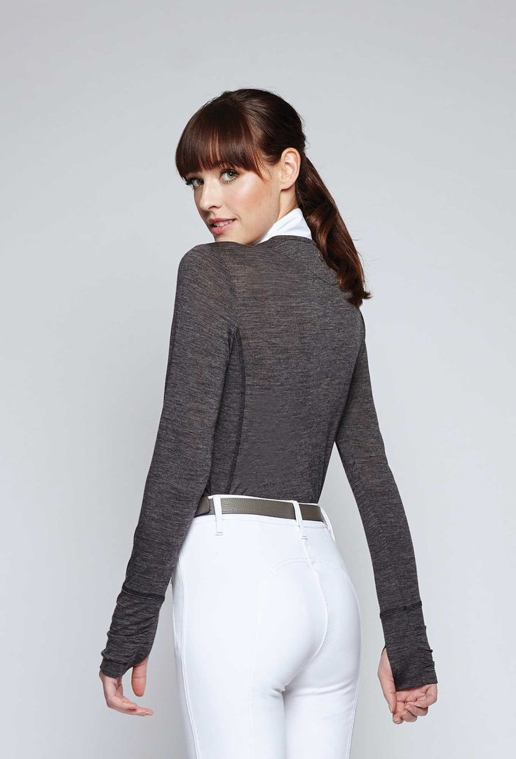 The Delta Merino Sweater by Asmar Equestrian in Charcoal. Perfect Transition into fall riding weather.