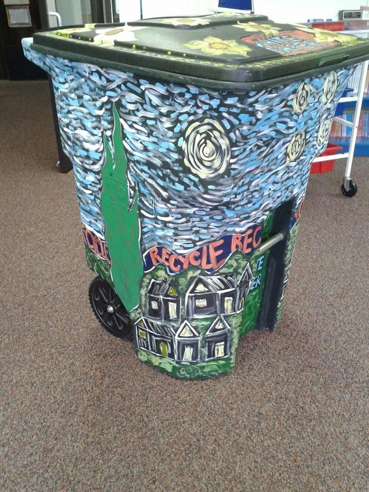 Artist Inspired Trashcans - Van Gogh. Painted by Elementary students