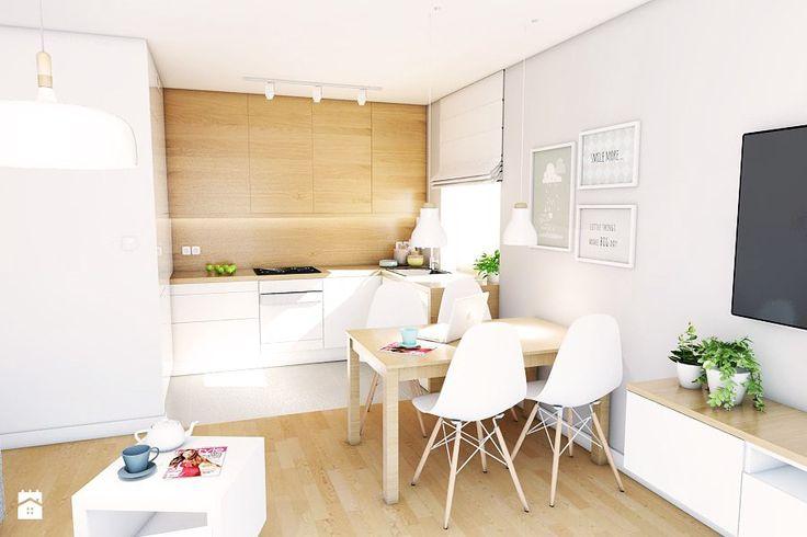 Aranżacja mieszkania przy ul. Małomiejskiej w Gdańsku - Średni salon z kuchnią z jadalnią, styl nowoczesny - zdjęcie od Pracownia Projektowa MONO