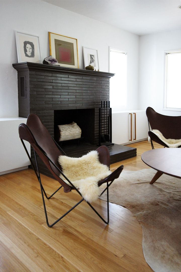 .Decor, Ideas, Living Room, Black Fireplaces, Painting Fireplaces, Bricks Fireplaces, House, Painting Bricks, Black Bricks