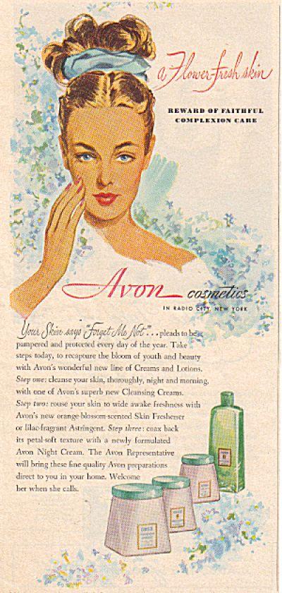 Vintage 1947 Avon FLOWER FRESH SKIN Cosmetic AD