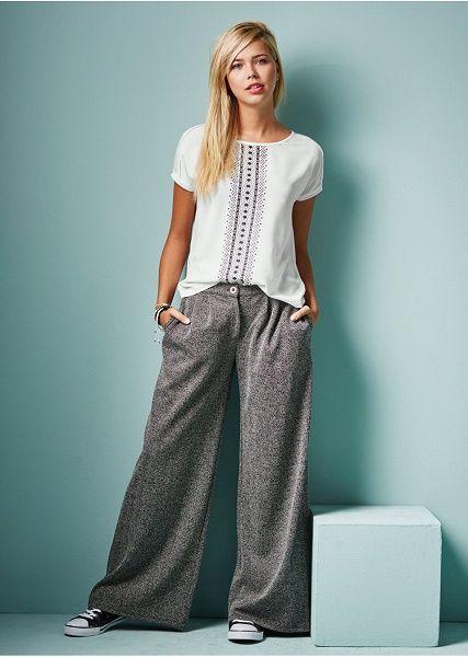 Spodnie z szerokimi nogawkami Modne • 139.99 zł • Bon prix