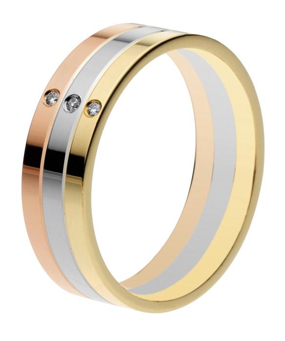 Oro amarillo, oro blanco y oro rojo de 18 quilates. Diamante natural talla brillante.
