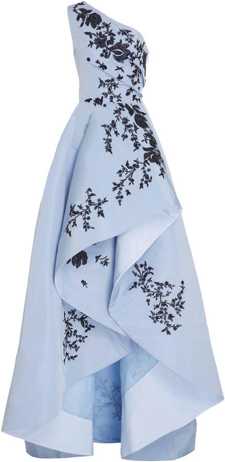 Monique Lhuillier One Shoulder Asymetrical Gown Beautiful light blue dress