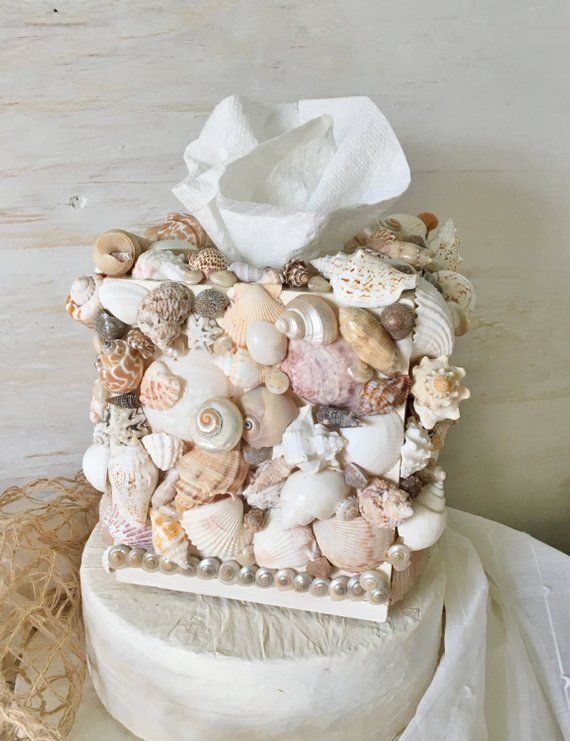 Shell Tissue Box Cover, Kleenex Box Cover, Seashell Bathroom Decor