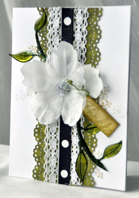 "Simply Gorgeous ""Thanks"" Card...with layered ribbon trim & flower...Scrapbook.com."