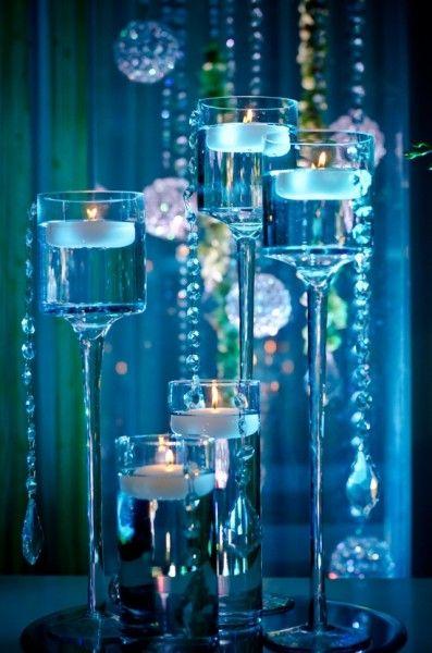 I love water a candles... very romantic, pretty, elegant - California Weddings: http://www.pinterest.com/fresnoweddings/