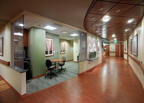 Nurse Station design in the Benjamin and Marian Schuster Heart Hospital at the Kettering Medical Center