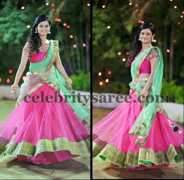 Baby Pink Half Saree by Mrunalini Rao