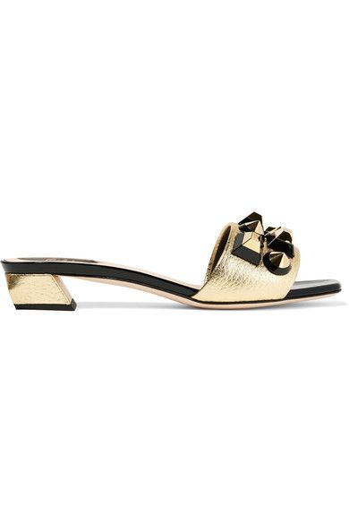 Fendi - Studded Metallic Textured And Patent-leather Sandals - Gold - IT
