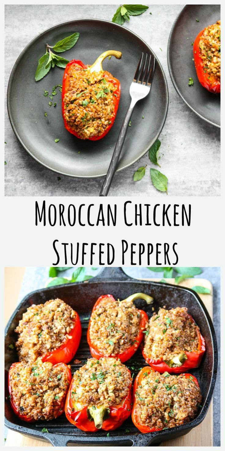 Moroccan Chicken Stuffed Peppers The Food Blog In 2020 Stuffed Peppers Moroccan Chicken Chicken Stuffed Peppers