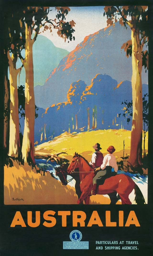 Horses by James Northfield (1930s). Published by the Australian National Travel Association around the world to promote tourism to Australia.