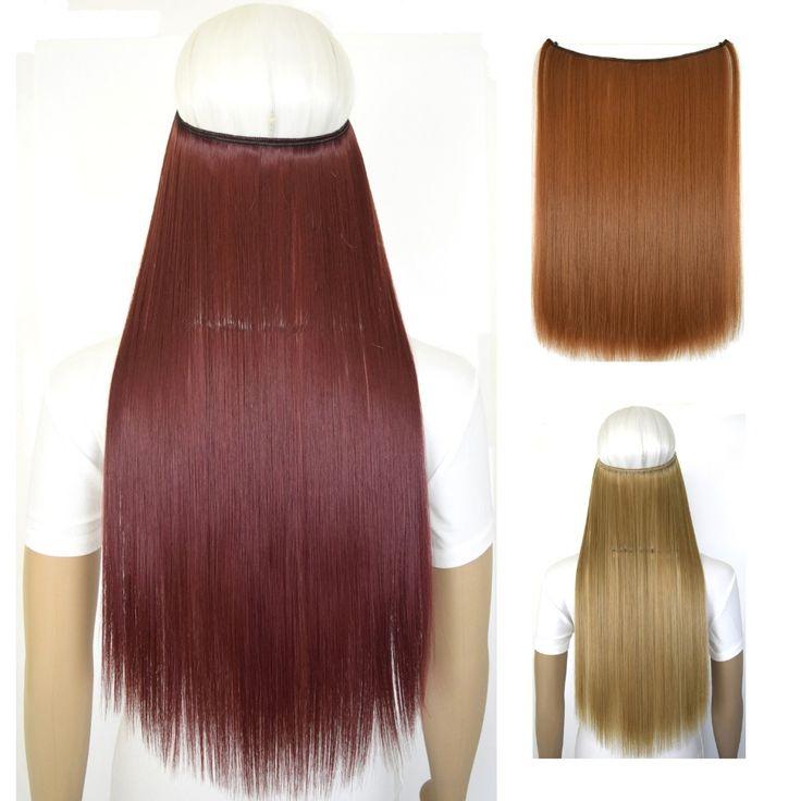 """20 """"(50 cm) 50g straiht mircale alambre de fibra del pelo postizo extensión del pelo de halo B5"""