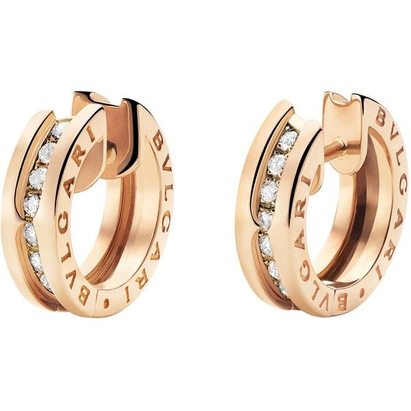 BVLGARI B.zero1 18kt pink-gold and diamond small hoop earrings (217.815 RUB) ❤ liked on Polyvore featuring jewelry, earrings, accessories, rose gold hoop earrings, red gold jewelry, earring jewelry, rose gold jewelry and pave diamond hoop earrings