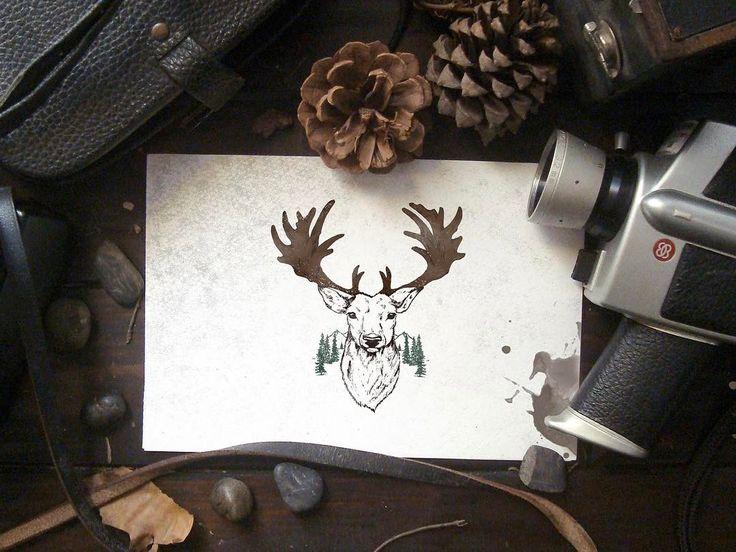 . . #oldschool #artoftheday #handdrawn #green #logo #oldschool #vintage #draw #drawing #branding #deer