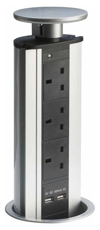 Pop Up Socket Sliding Kitchen or Office 3 x Plug Socket 2 x USB