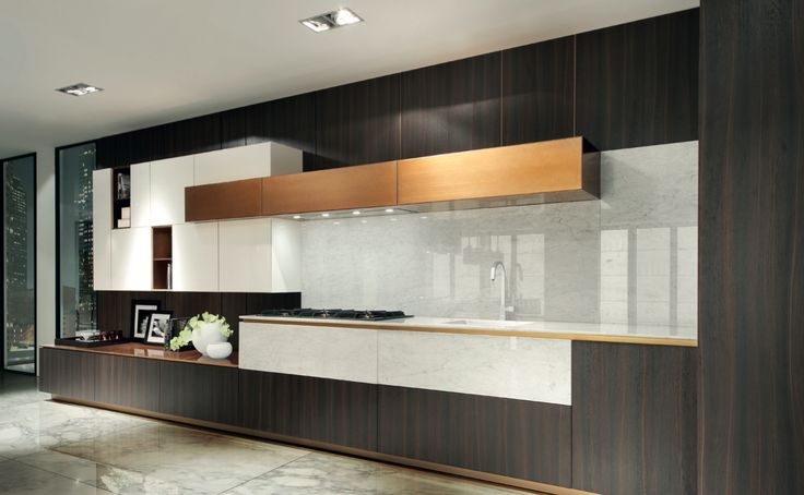 Melamine Tortona Oak. Composition of materials that plays with refined combinations.