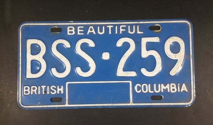 Early 1980s Beautiful British Columbia Blue with White Letters Vehicle License Plate https://treasurevalleyantiques.com/products/early-1980s-beautiful-british-columbia-blue-with-white-letters-vehicle-license-plate-1 #Vintage #1980s #80s #Eighties #BeautifulBC #BC #BritishColumbia #Canada #Canadian #Vehicles #Autos #LicensePlates #Garage #Mancave #SheShed #BarDecor #Decor #Collectibles