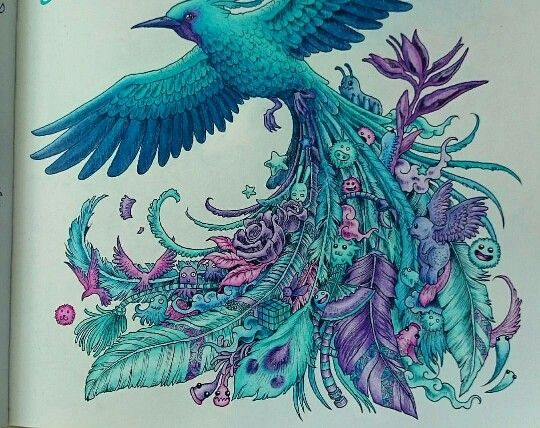 Coloring Pages Adults Birds : Best animorphia coloring book completed pages inspiration