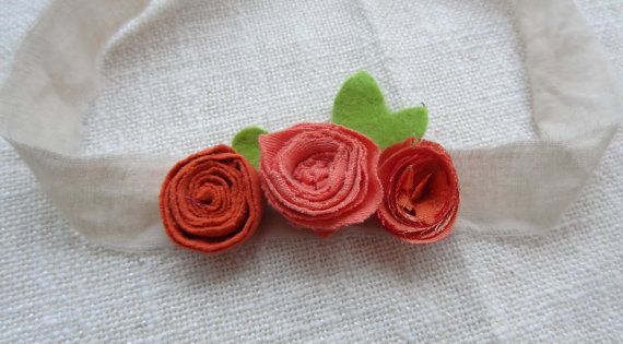 RTS Newborn Flower Tieback Three  fabric flowers by IfonBabyLand