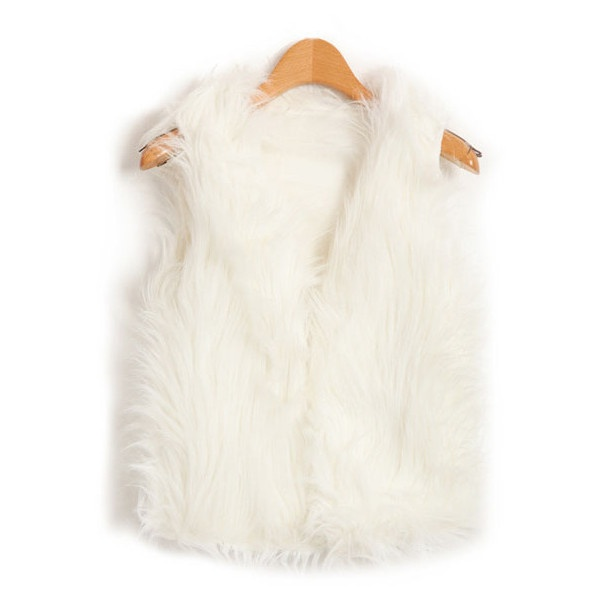 White Cropped Fluffy Faux Fur Sleeveless Jacket With Concealed Hook... ($46) ❤ liked on Polyvore