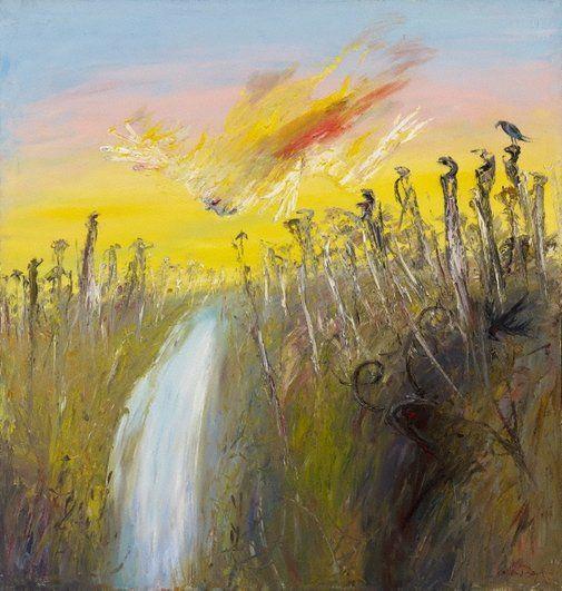 Nebuchadnezzar on fire falling over a waterfall by Arthur Boyd