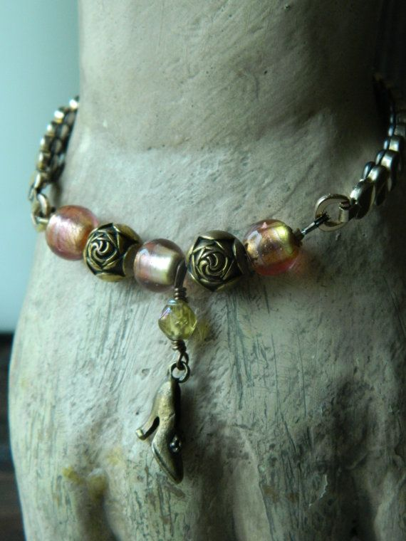 Assemblage Bracelet Shoe Charm Glass BeadsExpansion by 58Diamond