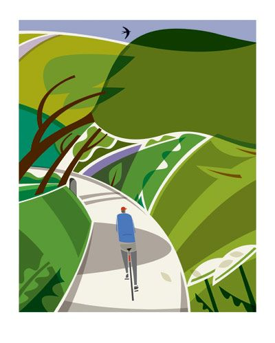 Cover illustration by London-based artist Andrew Pavitt for Jack Thurston's book 'Lost Lanes: 36 Glorious Bike Rides in Southern England'. Also available as an A3 print from http://www.tumblr.com/tagged/jack%20thurston