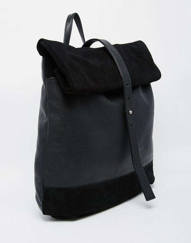 Image 2 - ASOS - Sac à dos en cuir et daim avec dessus roulé