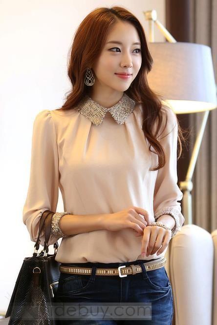グラマーOLスタイルのファッションスリムドールカラーシャツ