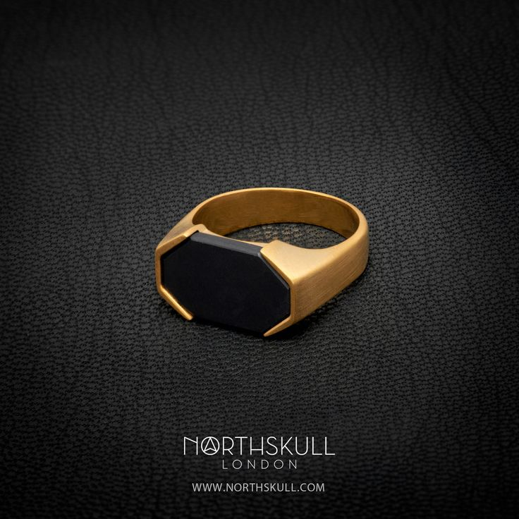 Finished in Luxurious brushed gold, our Asiri Ring is sure to add an element of luxury to your attire. Set with a specially cut natural black onyx stone, it's perfect for both smart & casual outfits. | Available now at Northskull.com [Worldwide Shipping] #Luxury #Jewelry #MensAccessories
