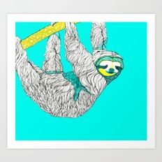 Sloth Obsession Giclée art print by Kerise Delcoure. The original artwork for this design was created with mixed-media painting and collage on canvas. This cheerful sloth is a reminder to slow down from time to time to enjoy the simple things in life. Available at https://society6.com/kerisedelcoure.