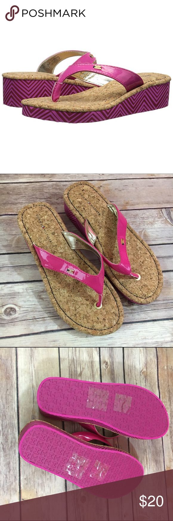 """NEW Tommy Hilfiger Pink Joy Chevron Flip Flops 4 NEW Tommy Hilfiger Pink Joy Chevron Flip Flops 4  New without tags.  Pattern is """"Joy Chevron"""".    Heighten her summer style with a pair of chic wedge sandals from Tommy Hilfiger. * Decorative charm at vamp * Wedge heel with chevron pattern * Synthetic upper; EVA sole #new #wedge #pink #flipflops #cork #chevron #sandals #tommyhilfiger Tommy Hilfiger Shoes Sandals & Flip Flops"""