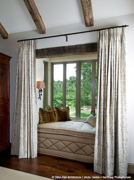 Curtains to frame and enclose window seat