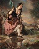 Johann Baptist Reiter - A Daring Step, oil on canvas
