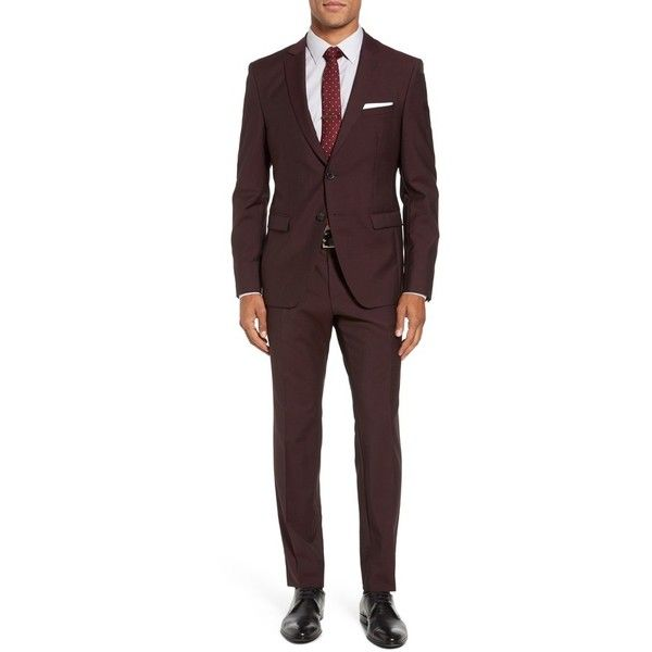 Men's Boss Reymond/wenten Trim Fit Solid Wool & Mohair Suit (640,845 KRW) ❤ liked on Polyvore featuring men's fashion, men's clothing, men's suits, dark red, mens suits, merino wool mens clothing, mens clothing, mens wool suits and men's apparel