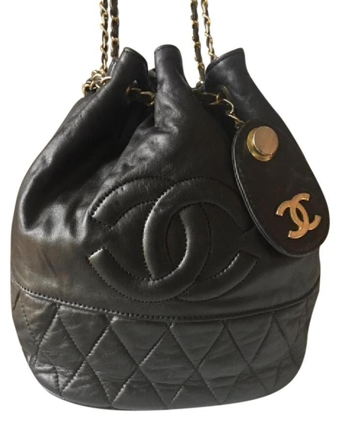 b6187bef155e Drawstring Hobo Rare Vintage Cc Chains Bucket Tote Quilted Lambskin Black  Leather Shoulder Bag | Vintage Chanel | Bags, Chanel, Shoulder Bag