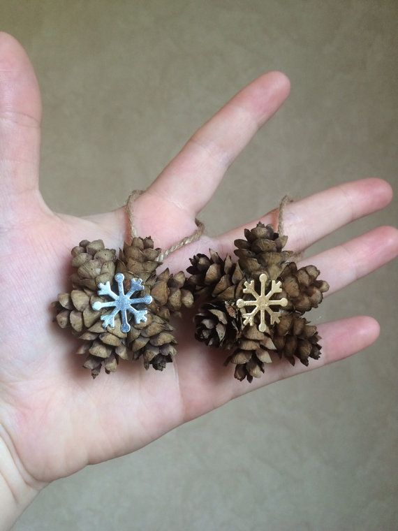 Mini Snowflake Pine Cone Ornament, Gold or Silver Snowflake Charm, Pinecone Gift Topper, Rustic Holiday Ornament