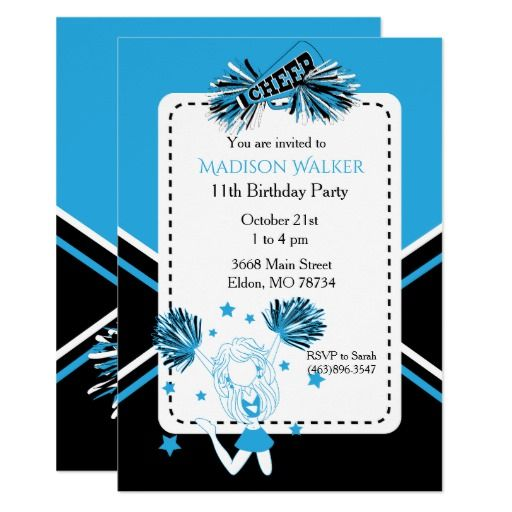 432 best cheerleader birthday party invitations images on pinterest cheerleader birthday party in baby blue card stopboris Images