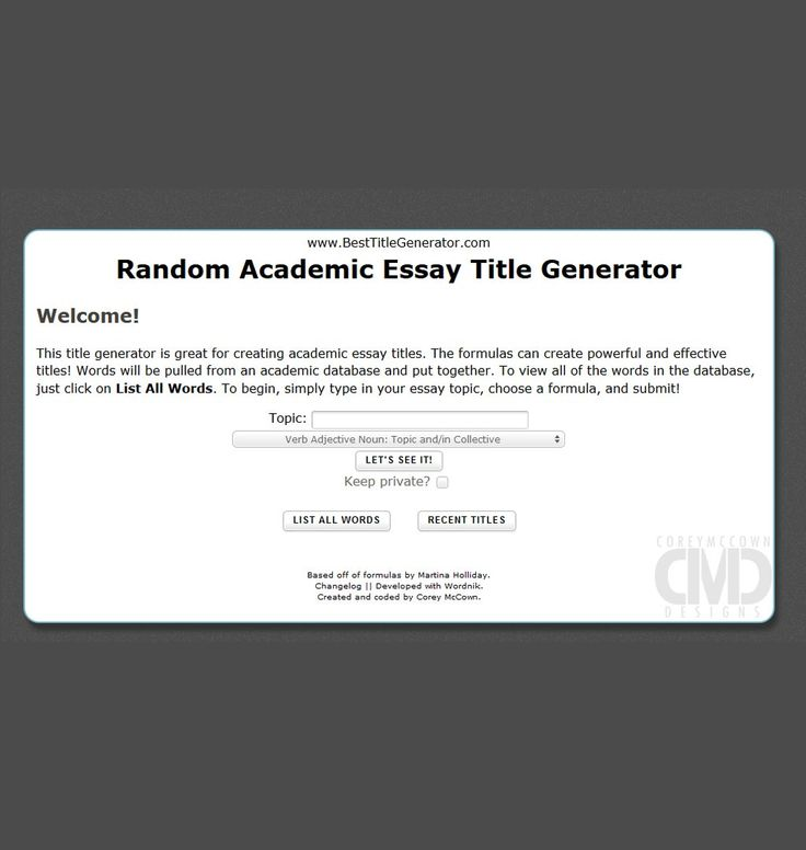 The Title Generator Essay Tool