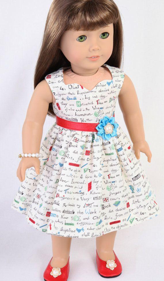 AG Doll Dress, 18 Inch Doll Dress, MODERN ROMANTIC, Unique Graphic Art Text Print, Red Belt & Red Ballet Flats