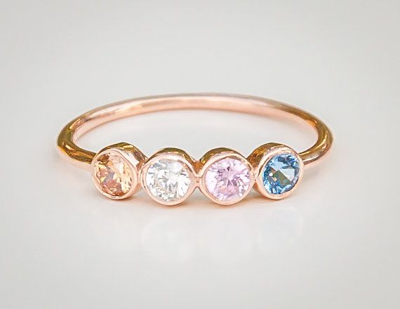 Birthstone Ring Mothers Ring Family by milajewellerydesign