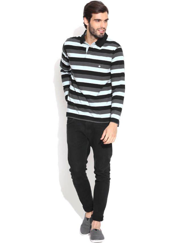 Dream of Glory Inc. Blue & Grey Striped Polo T-shirt
