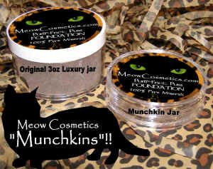 Meow Cosmetics Mineral Foundations, try these Munchkin Jars, a smaller, travel size that allows you to try foundations! There are three different foundation coverage types available, Perfect Puss, Pampered Puss, and Flawless