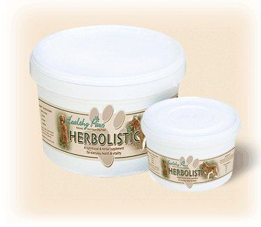 Aus der Kategorie Kräuter  gibt es, zum Preis von   <p>Healthy Paws Herbolistic dog food is a nutritional daily supplement which provides pets with health and vitality, made with natural ingredients to support your dog's health for an active lifestyle. </p><p>Herbolistic contains a blend of 13 herbs and seeds to maintain the best health and provide essential nutrients to supplement your dog's normal diet. </p><p>Herbolistic has been specially formulated to; support a strong and healthy…