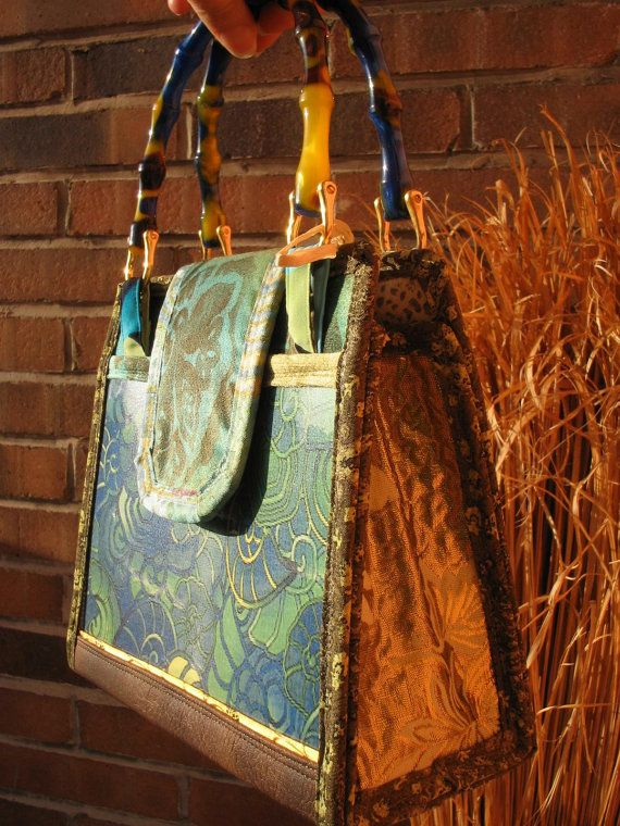 Aqua Nautilus PURSE HANDBAG Artwork  green gold by TALLhappyCOLORS